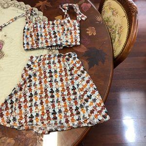 Teddy bear 2pc crop top skirt set